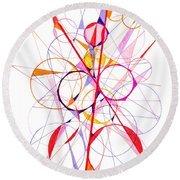 Abstract Pen Drawing Fifty-one Round Beach Towel