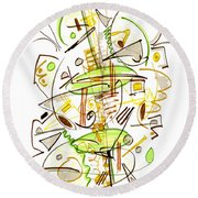 Abstract Pen Drawing Fifty-seven Round Beach Towel
