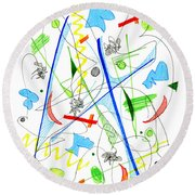 Abstract Pen Drawing Fifty-three Round Beach Towel