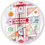 Abstract Pen Drawing Fifty-two Round Beach Towel