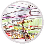 Abstract Pen Drawing Forty-five Round Beach Towel