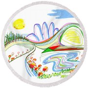 Abstract Pen Drawing Forty-four Round Beach Towel