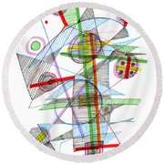 Abstract Pen Drawing Forty-nine Round Beach Towel