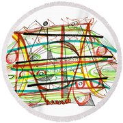 Abstract Pen Drawing Forty-seven Round Beach Towel
