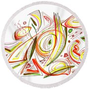 Abstract Pen Drawing Forty-six Round Beach Towel