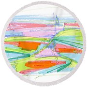 Abstract Pen Drawing Forty-three Round Beach Towel