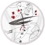 Abstract Pen Drawing Seventy-eight Round Beach Towel