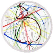 Abstract Pen Drawing Seventy-four Round Beach Towel