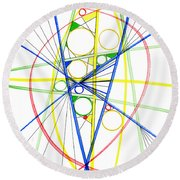 Abstract Pen Drawing Seventy-three Round Beach Towel