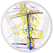 Abstract Pen Drawing Seventy-two Round Beach Towel