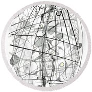 Abstract Pen Drawing Sixty-eight Round Beach Towel