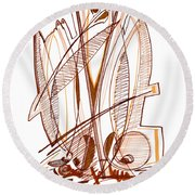 Abstract Pen Drawing Sixty-four Round Beach Towel