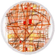 Abstract Pen Drawing Sixty-one Round Beach Towel