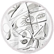 Abstract Pen Drawing Sixty-seven Round Beach Towel