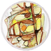 Abstract Pen Drawing Sixty-three Round Beach Towel