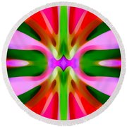 Abstract Pink Tree Symmetry Round Beach Towel