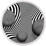 Abstract - Poke Out My Eyes Round Beach Towel by Mike Savad