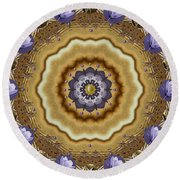 Abstract Pond In Gold Round Beach Towel