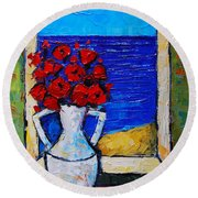 Abstract Poppies By The Sea Round Beach Towel