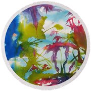 Abstract -  Primordial Life Round Beach Towel