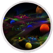 Abstract Psychedelic Fractal Art Round Beach Towel