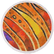 Abstract Rainbow Tiger Stripes Round Beach Towel by Pixel Chimp