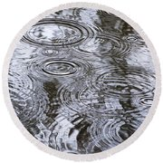 Abstract Raindrops Round Beach Towel by Christina Rollo