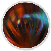 Abstract Red And Green Blur Round Beach Towel