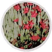 Abstract Red Flowers Round Beach Towel
