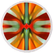 Abstract Red Tree Symmetry Round Beach Towel by Amy Vangsgard