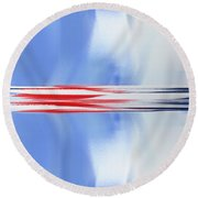 Abstract Red White And Blue Silver Rocket Square Round Beach Towel