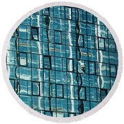 Abstract Reflections In Windows Round Beach Towel