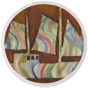 Abstract Sailboat Round Beach Towel