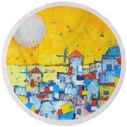 Abstract Santorini - Oia Before Sunset Round Beach Towel by Ana Maria Edulescu
