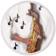Abstract Saxophone Player Round Beach Towel