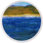 Abstract Shoreline Round Beach Towel