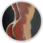 Abstract Sienna Torso - Female Nude Round Beach Towel