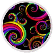 Abstract - Spirals - Inside A Clown Round Beach Towel by Mike Savad