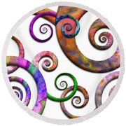 Abstract - Spirals - Planet X Round Beach Towel