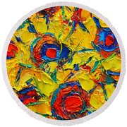 Abstract Sunflowers Round Beach Towel