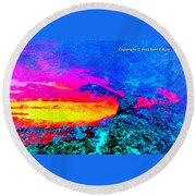 Abstract Sunset As A Painting Round Beach Towel