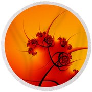 Abstract Sunset Fractal Round Beach Towel