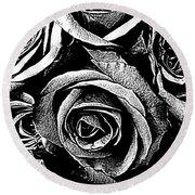 Dark Star Roses For David Bowie Round Beach Towel