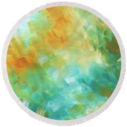 Abstract Textured Decorative Art Original Painting Gold And Teal By Madart Round Beach Towel
