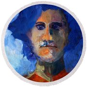 Abstract Thinking Man Portrait Round Beach Towel