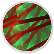 Abstract Tiled Green And Red Fractal Flame Round Beach Towel