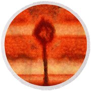 Abstract Tree Round Beach Towel by Pixel Chimp