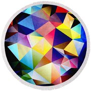 Abstract Triangles And Texture Round Beach Towel