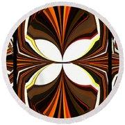 Abstract Triptych - Brown - Orange Round Beach Towel