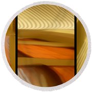 Abstract Triptych - Omaha Library Building Round Beach Towel